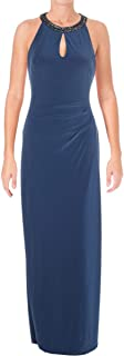 Womens New 1129 Blue Embellished Halter Gown 4 B+B