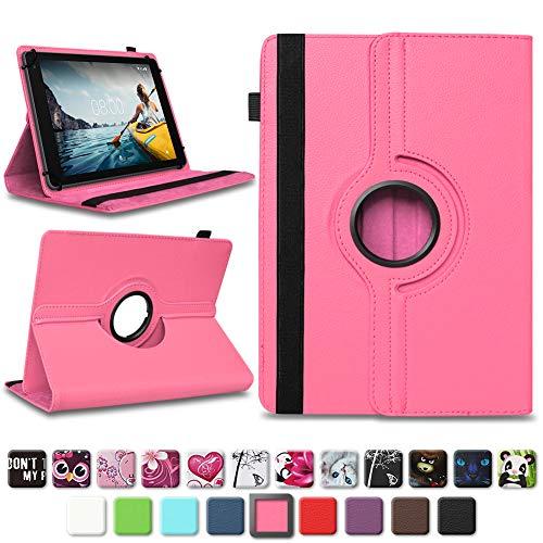NAUC Medion Lifetab E10604 E10412 E10511 E10513 E10501 Tablet Tasche Hülle Schutzhülle Tablettasche mit Standfunktion 360° drehbar hochwertige Verarbeitung Universal Case Cover, Farben:Pink