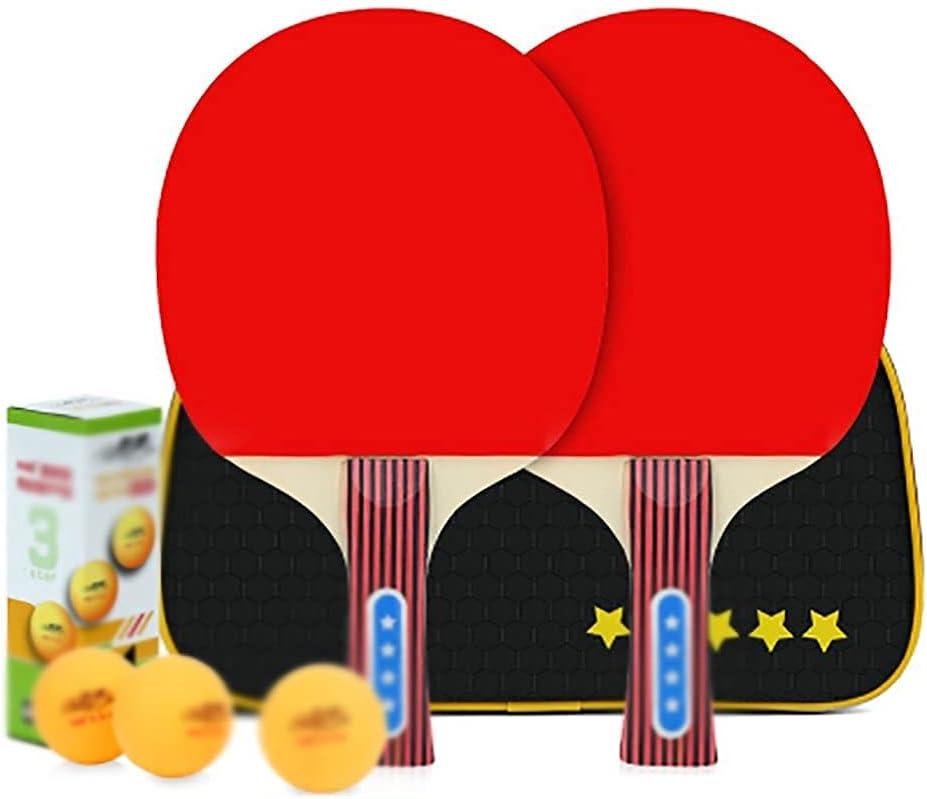 JIANGCJ bajo Precio. Conjunto de Pendientes de Mesa con 2 paletas de Ping Pong y 3 Bolas de Ping Pong, Ping Pong Palo murciélago 3 Star-B