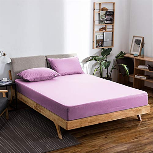 OMGPFR Waterproof Mattress Protector, Polyester Fiber Modern Classic Durable Soft Breathable Anti-mite Non-slip Dust Cover for Bedroom Hotel Home Decoration Available in 4 Sizes,Pink,200×200+30cm
