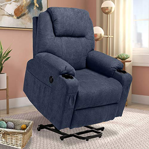 Haverchair Electric Power Lift Recliner Fabric Chair for Elderly Wireless Remote Control Massage and Heat Sofa with USB Charge Port, Side Pockets and Cup Holders(Blue)