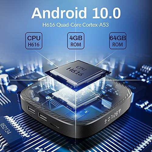 Android tv Box 10.0, [4G RAM+ 64G ROM] H616 Quad-Core 64 Bits mit Dual 2.4G/5.8G WiFi, BT 5.0 UHD H.265 Ethernet LAN Unterstützung 3D 6K TV Box mit hintergrundbeleuchtete Tastatur Set Top TV Box