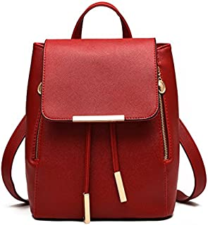Trendy Red Leather Fashion Backpacks For Women Chic Ladies Girls School Backpacks Korean Style Bags