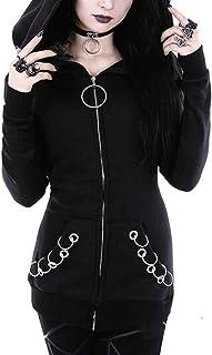 FSSE Womens Plus Size Full Zip Punk Loose Hoodie Hooded Sweatshirt Coat Jacket