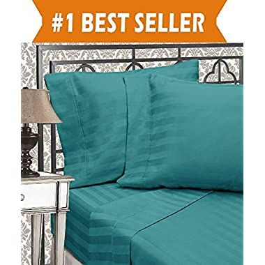 Elegant Comfort Best, Softest, Coziest 6-Piece Sheet Sets! - 1500 Thread Count Egyptian Quality Luxurious Wrinkle Resistant 6-Piece DAMASK STRIPE Bed Sheet Set, Queen Turquoise
