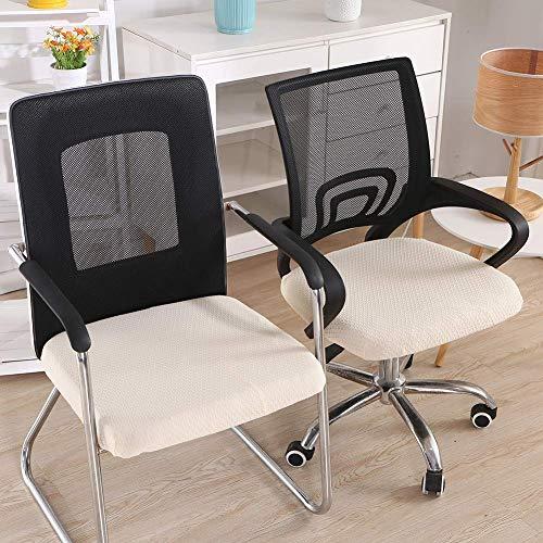 Homaxy Stretch Spandex Jacquard Esszimmerstuhl Sitzbezüge, herausnehmbarer waschbarer Anti-Staub Esszimmerstuhl Sitzkissen Hussen - 2er Set, Beige