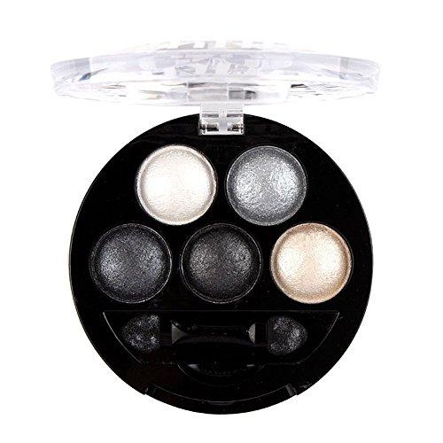 Haifly 5 Farben Augen Schminke Glitzer Lidschatten Puder Kosmetik Eyeshadow Glitter Make up Palette...