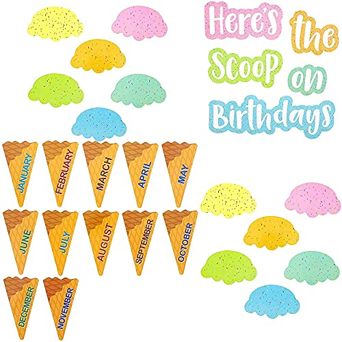 Ice Cream Birthday Board Cutouts for Classroom Decorations (48 Pack)