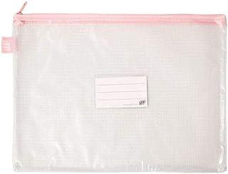 Pasta Zíper com Costura - Ofício - PVC - Transparente ROSA