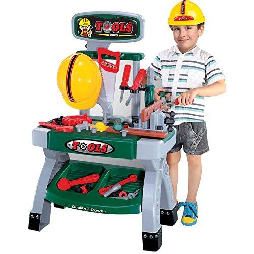 BAKAJI Banco Lavoro Officina per Bambini con Scaffali Elmetto Morsa da Banco Attrezzi e Accessori da Lavoro 44 x 28 x 70 cm