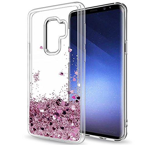 LeYi per Custodia Samsung Galaxy S9 Plus/S9+ Glitter Cover con HD Pellicola,Brillantini Trasparente Silicone Gel Liquido Sabbie Mobili Bumper TPU Case per Galaxy S9 Plus/S9+Telefonino Donna Rosa