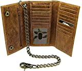 Biker's Trucker Long Checkbook Black Tan Leather Trifold chain wallet for men's with RFID Blocking Feature (Brown 5121253 with chain)