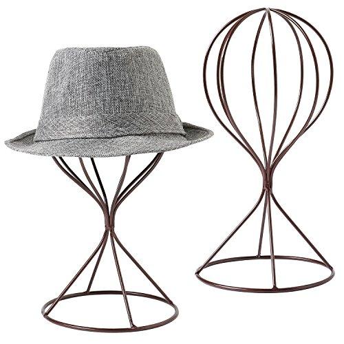 MyGift, moderno supporto per cappelli in metallo, ideale anche come porta-parrucche da tavolo, confezione da 2, Brown, medium
