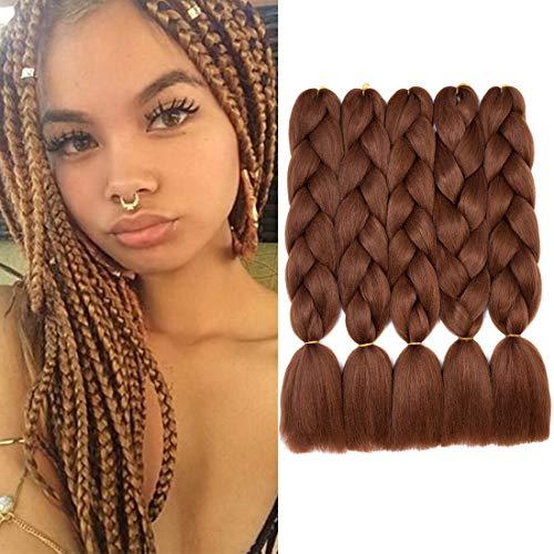 5 Packs Jumbo Braiding Hair Kanekalon Synthetic Fibre Braiding Hair Extensions Pure Color(24Inch,Dark Brown)