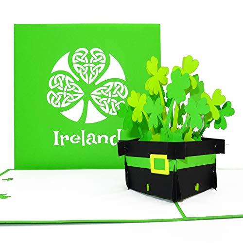 """Pop Up Karte """"Irland – Irish Shamrocks """" - 3D Ireland Grußkarte als Souvenir, Geburtstagskarte, Reisegutschein, Einladung zur Städtereise Dublin & Rundreise Irland"""