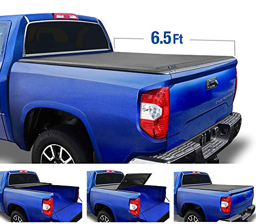 Tyger Auto Black (Soft Top) T3 Tri-Fold Truck Tonneau Cover TG-BC3T1033 Works with 2007-2013 Toyota Tundra | Fleetside 6.5' Bed | for Models with or Without The Deckrail System