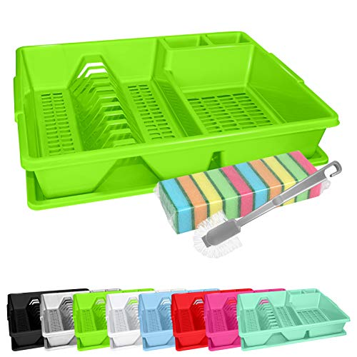 WELLGRO Escurreplatos, cepillo de limpieza y 10 esponjas – aprox. 44 x 35 x 9 cm (largo x ancho x alto) – Escurreplatos – Escurreplatos – Escurreplatos – Escurreplatos – Color: Verde