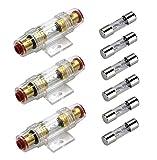 Carviya Portafusibles en línea AWG de calibre 4-8 con 6 fusibles tipo AGU de 30 A, 30 A, para audio de coche, alarma, amplificador, compresores (30 A, 3 unidades)