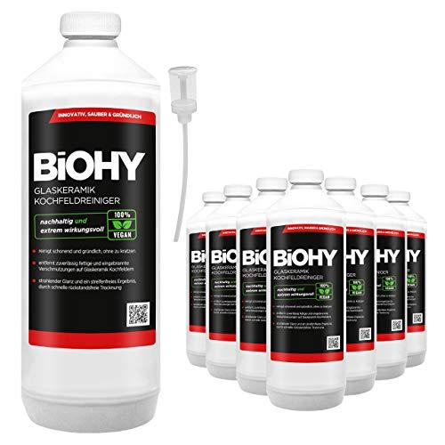 BIOHY keramische kookreiniger, 9 x 1 liter + doseerapparaat, voor stralend schone kookplaten, geschikt voor alle apparaten, Bosch & Siemens - geeft streepvrije glans