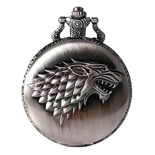 Vintage Song of Ice and Fire Theme Taschenuhr für Männer, Icefield Wolf Muster Quarz Taschenuhren für Männer, antiker Anhänger Uhr für Jungen