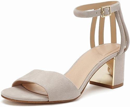 DHG Chaussures à Boucles Unies avec Talons Grossiers Et à Bout Ouvert,Une,37