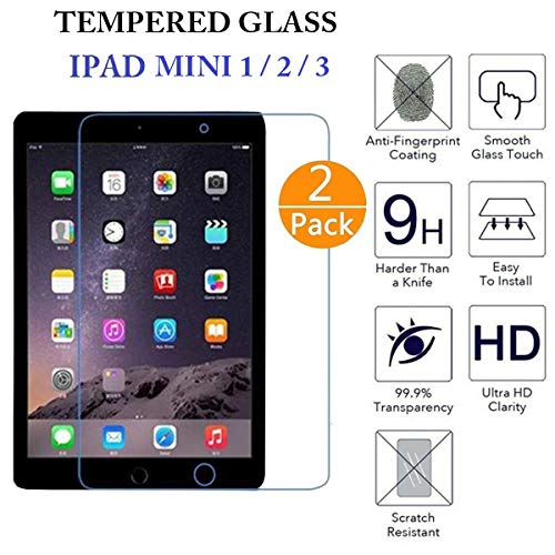 Screen Protector Tempered Glass for Apple iPad 1/2/3, Clear High Definition Tempered Glass Compatible with Apple iPad 1/2/3-2 Pack