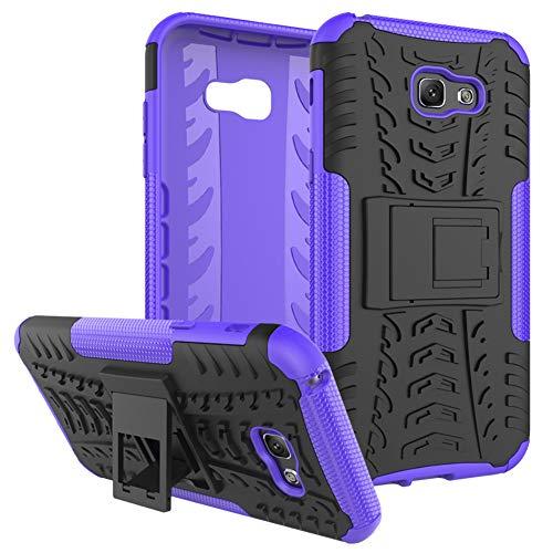 QIVSTAR for Samsung Galaxy A7 2017 Heavy Duty Combo Hybrid{PC+TPU} Case Cool Style Armor Anti-Fall Case with Kickstand for Samsung Galaxy A7 2017, Hyun-Purple