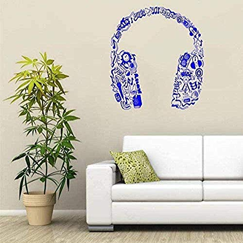 Vinilos decorativos Decoración de interiores Arte de pared Serie musical Notas musicales Motivos tribales en auriculares Arte especial para el hogar 56x56cm