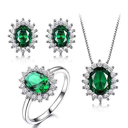 yuge Juego de joyas de plata de ley 925, adecuado para damas glamorosas con esmeraldas redondas y regalos de banquete de boda de plata ringsize8