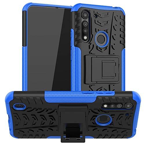 PHONETABLETCASE+ / Compatible with Compatible with MOTOROLA Moto G8 Power Lite Lite Texture TPU + PC Funda protectora con titular Protección de la cubierta de la cubierta a prueba ( Color : Azul )