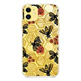 Cute Bee Printed Clear Design Case for iPhone 11, MAYCARI Soft TPU Bumper Protective Case Cover for Girls Women