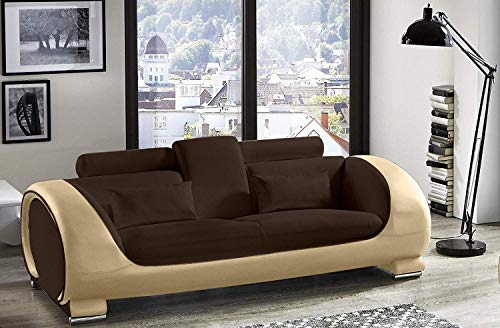 SAM 3-Sitzer Sofa Vigo, braun/Creme, Couch aus Kunstleder