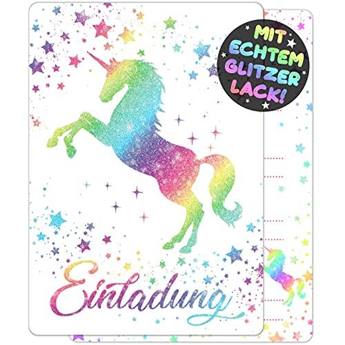 12x Glitzer EINLADUNGSKARTEN für PARTY und KINDERGEBURTSTAG - die Karten im bunten Einhorn Stern Design sind die EINLADUNG für Mädchen Jungen Kinder zum GEBURTSTAG und KINDERPARTY