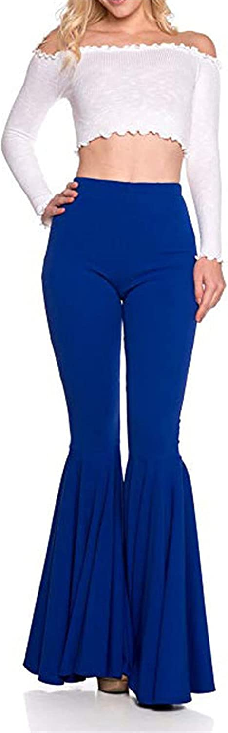 Women's Casual Pleated Flared Pants High Waist Ruffle Mermaid Bell Bottom Trousers Solid Color Flare Casualpants (X-Large,Blue)