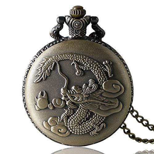 Retro Taschenuhr, 3D Chinese Dragon Design Pocket Armbanduhr für Herren, Quarz Taschenuhr Geschenk