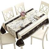 Qualsen Mantel Antimanchas Rectangular Impermeable, PVC, fácil de Limpiar, Manteles Mesa Decorativo para Hogar Comedor del Cocina, Amarillo Claro-Negro,137 x 220 cm