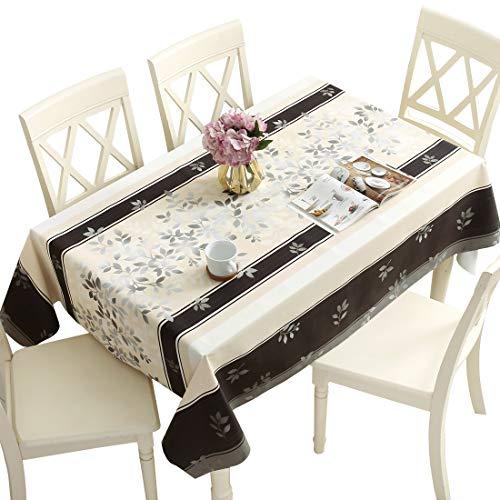 Qualsen Mantel Antimanchas Rectangular Impermeable, PVC, fácil de Limpiar, Manteles Mesa Decorativo para Hogar Comedor del Cocina, Amarillo Claro-Negro,137 x 200 cm