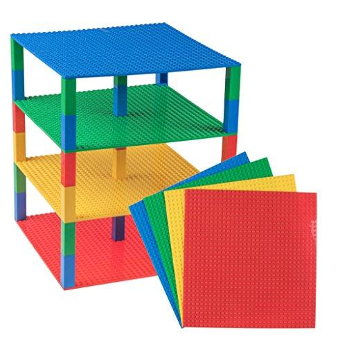 Strictly Briks Pack de 4 Bases apilables con Ladrillos separadores 2 x 2 - Construcción en Forma de Torre - Compatible con Todas Las Marcas - 25,4 x 25,4 cm - Rojo, Amarillo, Verde, Azul
