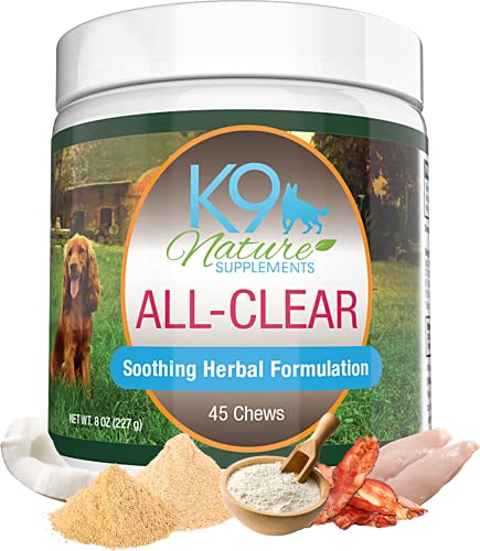K9 Nature Supplements: All-Clear - Allergy Supplement for Dogs - 45 Chews - Soothing Herbal Formula with Natural Ingredients - Support for Pet's Seasonal Allergies & Itching - for All Breeds
