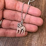 Pitbull Charm Necklace, Pitty Dog Lover Gift, Silver Metal with Heart Charm on a Chain, Ladies I Love Pit Bull Short Hair