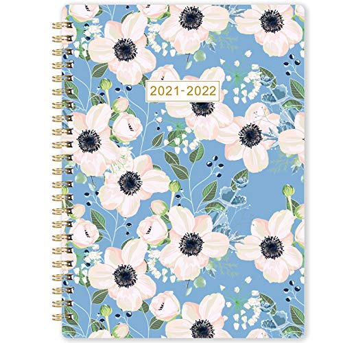 2021 Monthly Planner - 12-Month Planner with Tabs & Pocket. Twin-Wire Binding - Flower by Artfan