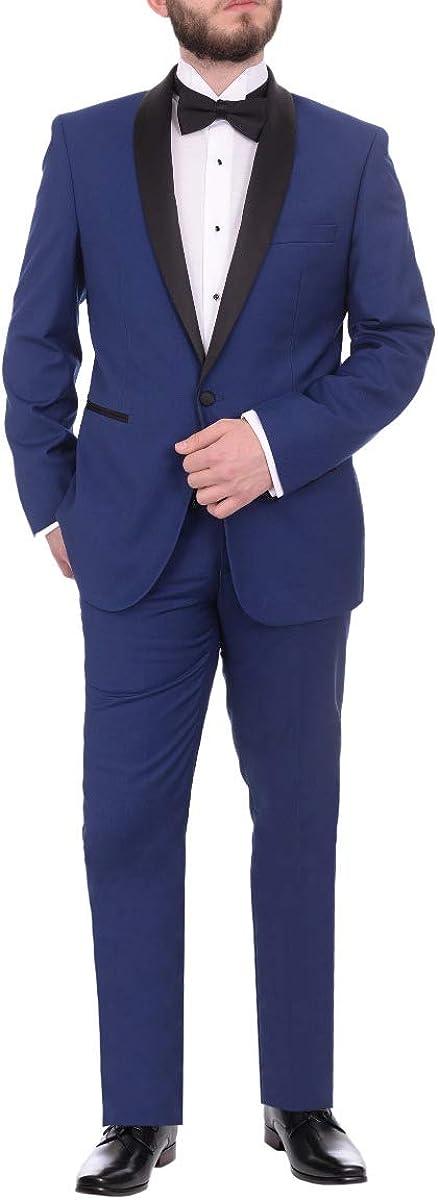 Gino Vitale Slim Fit Indigo Blue One Button Tuxedo Suit with Satin Shawl Lapel
