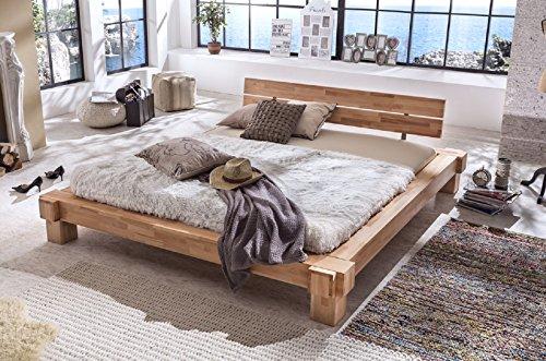 Holzwerk Massivholzbett Palermo Doppelbett Bett Massiv Kernbuche Balkenbett Größen frei wählbar 140x200-200x200 (140x200)