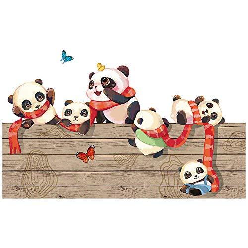 Panda etiqueta de la pared en el tablero de madera jardín de infantes decoración de la pared clase diseño fondo pegatinas de pared dibujos animados autoadhesivo-Panda en una tabla de madera_Big