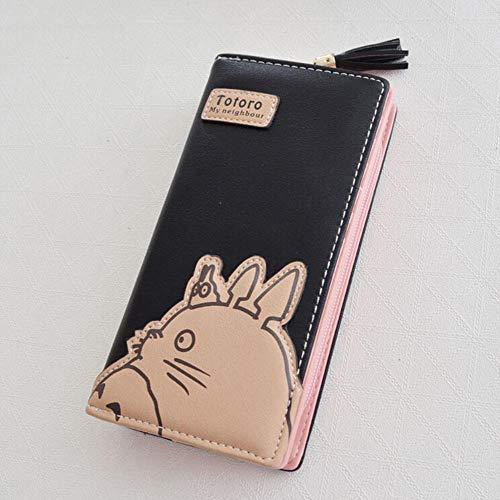 SWVV Anime Totoro Reißverschluss Cartoon Mode Frauen Lange Brieftasche Geldbörse Handtasche Geschenk, Schwarz
