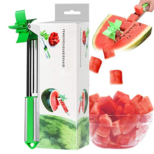 Watermelon Windmill Cutter Slicer [Original] - Auto Stainless Steel Melon Cuber Knife - Fun Fruit Vegetable Salad Quickly Cut Tool, Best Gift For Girls Mom Friends, Must Have Kitchen Gadget