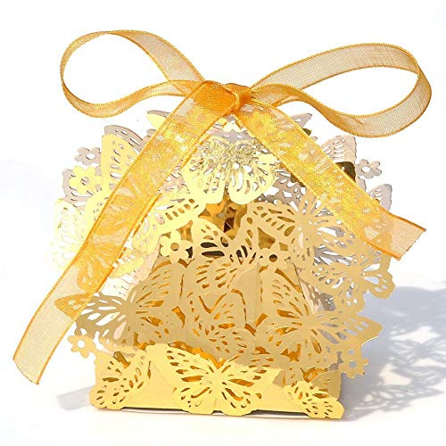 PONATIA 50pcs/Lot Laser Cut Pearl Paper Party Wedding Favor Ribbon Candy Boxes Gift Box (Bright gold)