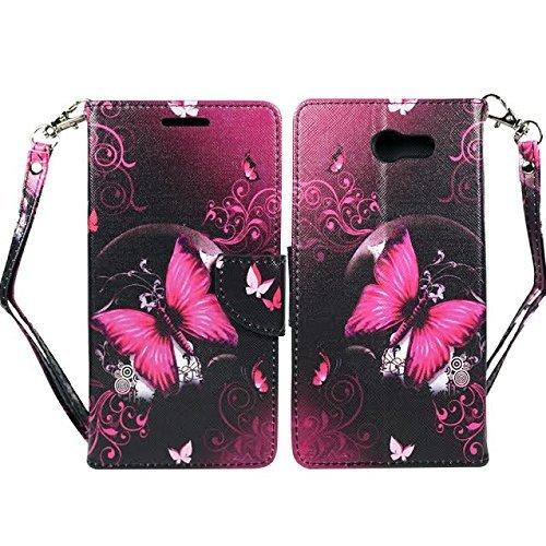 Samsung Galaxy S8Active Schutzhülle, Galaxy S8Active AT und T Wallet Fall Pouch Premium PU Leder Flip Cover w/[Standfuß] Card Slot Handschlaufe für S8Active von Zase, Hot Pink Butterfly Flower