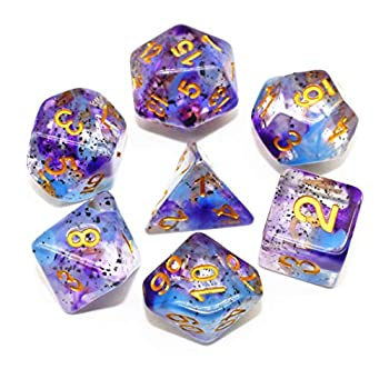 HD Dice DND RPG Polyhedral Dice Set for Dungeons and Dragons Pathfinder Role Playing Games Transparent Dice with Blue Purple Two-Tone Swirls & Black Granule Dice Group…