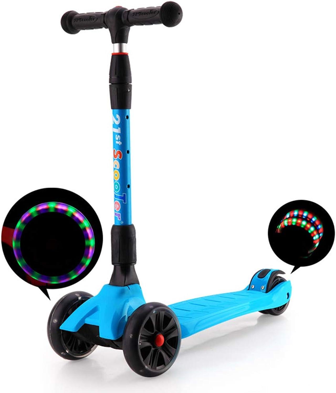 oferta especial Niños Scooter Ligero Niños Tres Ruedas Plegable Bicicleta Bicicleta Bicicleta Deslizador Flash 3 Rondas de Juguetes al Aire Libre 2-15 años en Bicicleta,azul  100% precio garantizado